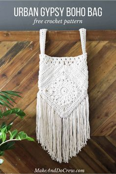 "Boho love! This boho bag free crochet pattern is fun to put together and loaded with bohemian charm. Made with Lion Brand Kitchen Cotton in ""Vanilla."""