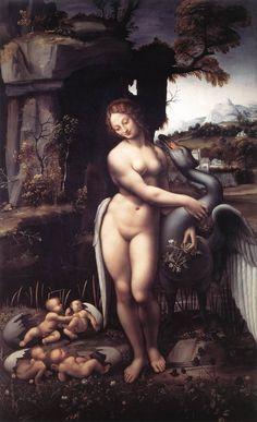 "artist-davinci: "" Leda, 1510, Leonardo Da Vinci Size: 77.5x130 cm Medium: oil, panel"""