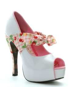 White & Red Cherry Logan Peep-Toe Pump | Daily deals for moms, babies and kids