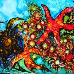 Under the sea alcohol ink painting
