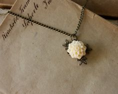 Delicate Cream Flower Necklace with Cabochon Dahlia by Lilywinkel on Etsy... Such a beautiful piece!