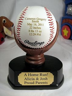Engraved Baby Announcement Baseball Keepsake Gift Nursery Decor New Born with Personalized Resin Mitt Display. $32.00, via Etsy.