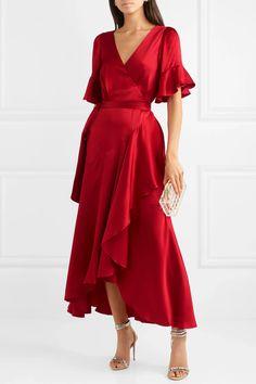 Elegant Dresses Classy, Elegant Dresses For Women, Classy Dress, Red Dress Casual, Dress Formal, Fancy Dress, Casual Dresses, Satin Dresses, Silk Dress