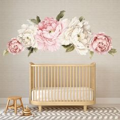 Peony Wall Decal - Floral Wall Decals Watercolor Peony Large Self Adhesive Wallpaper - Floral Wallpaper Mural - Peel and Stick Wall Decals - Tapeten Ideen Flower Wall Decals, Vinyl Wall Decals, Wall Stickers, Motif Floral, Floral Wall, Self Adhesive Wallpaper, Of Wallpaper, Bedroom Wallpaper, Art Mural