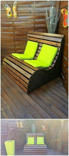 Easy to Make Wood Pallet Amazing Furniture Ideas: In order to add up your house furniture with the dramatic concepts of brilliance and amazing approaches, then choosing with the idea. Diy Pallet Sofa, Pallet Walls, Wooden Pallet Projects, Wooden Pallet Furniture, Diy Outdoor Furniture, Pallet Crafts, Recycled Furniture, Wooden Pallets, Wooden Diy