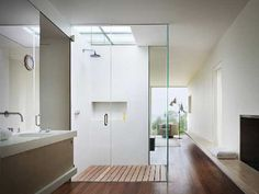 Skylight shower in a beach home in Montauk