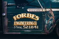 1968 Chevy Truck, Chevy Trucks, Truck Lettering, Vintage Lettering, Door Signage, Commercial Van, Step Van, Truck Signs, Old Garage