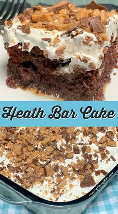 Heath Bar Cake is a rich and creamy butterscotch topped chocolate cake. A box mix plus four extra ingredients make this as good as a bakery cake, but super EASY to make. Chocolate Cake Mixes, Homemade Chocolate, Chocolate Recipes, Chocolate Quotes, Easy Chocolate Desserts, Semi Homemade, Heath Cake, Heath Bar Cakes, Delicious Desserts