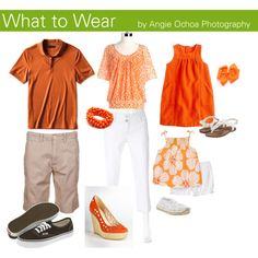 I love bright colors! What to Wear for Your Photo Session - Orange, White, Tan Photography Guide, Clothing Photography, Beach Photography, Lifestyle Photography, Family Photo Colors, Family Picture Outfits, Family Pictures, Beach Pics, Beach Pictures