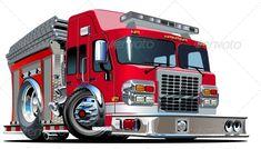 Vector Cartoon Fire Truck #GraphicRiver Vector Cartoon Fire Truck. Available…