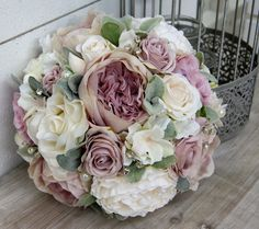 Mauve & White Brides Wedding Bouquet with Roses & Soft Green Lambs Ear Foliage - Artificial Flowers