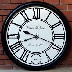 New Years Wedding Wall Clock with second hand by WallClockDesigns