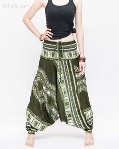 af46d500c0b3f African Tribe Design Harem Pants Low Crotch Baggy Yoga Trousers (Green II)