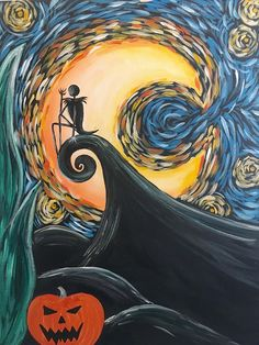 Paint Starry Nightmare at a Pinot's Palette studio near you! #StarryNight #pumpkin #painting #Halloween