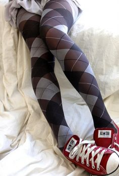 Argyle Tights... love with the red converse!