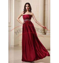 A-line Long Prom Dresses Strapless Beading Waistband Elastic Satin Zipper Back Prom Dresses
