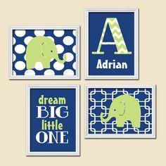 Navy Blue Yellow Chevron Monogram Child Name Elephant por trmDesign