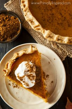 Paleo Pumpkin Pie (Grain Free, Dairy Free, Nut Free). This recipe uses eggs and has way more spice than the minimalist baker recipe. Maybe tastes more traditional?