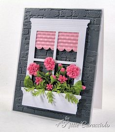 Primula Blooms Window Box by - Cards and Paper Crafts at Splitcoaststampers Heartfelt Creations, Flower Boxes, Flower Cards, Cool Cards, Diy Cards, Origami, Memory Box Cards, Window Cards, Pretty Cards