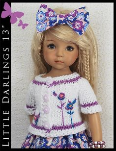 "White & Purple Summer Outfit Little Darlings Effner 13"" by Maggie & Kate Create"