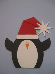 Christmas Penguin made using Creative Memories Cutting System w/ ovals, Circle Punch, & Sparkle Punch