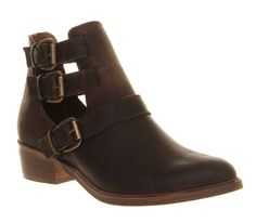 Womens Office Manston BROWN LEATHER Boots - Size 6