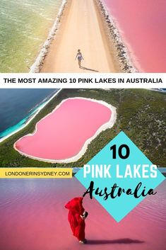 Did you know there's over 10 pink lakes in Australia? We've done the research and found some of the most mind blowing natural wonders in the world! Top 10 pink lakes in Australia Pink Lake Australia, Visit Australia, South Australia, Australia Trip, Lake Hillier Australia, Sydney Australia Travel, Brisbane Australia, Great Barrier Reef, Pink Lake