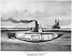 SUBMARINE: 'HOLLAND,' 1898. /nAmerica's armored torpedo-boat, USS Holland. Drawing, English, 1898. Stock Photo