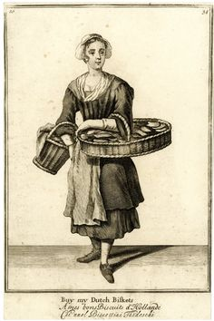 """""""Buy my Dutch biskets""""  a biscuit seller standing to front with large flat basket on her left arm, a smaller one on her right; from late series of the Cries of London, the plate considerably reworked with head, neck of dress and shoes altered.  1688, reworked and published after c.1750 Etching and engraving"""