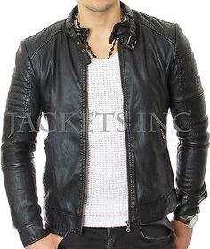 Mens Stylish Lambskin Genuine Leather Jacket 409