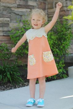 tutorial for an adorable scalloped yoke dress by stacy of hart & sew