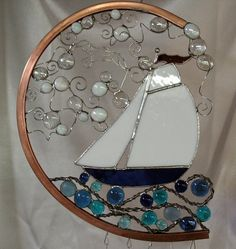 nautical windchime | Custom Made Stained Glass Nautical Wind Chime With Glass Nuggets And ...