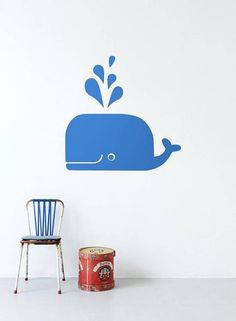 BADKAMER OP ROZE ACHTERGROND Ferm Living Muursticker Whale blauw vinyl 70x35cm