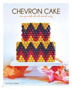 dress up a basic cake with seasonal colored m's or candy, and use in a modern pattern like this one @Charynn Olsheski created for #thepartydressmagazine  #holidayentertaining
