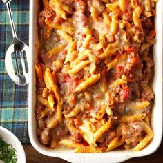 """Pasta fagioli al Forno . The name of this Italian-inspired dish means """"baked pasta with beans."""" But my busy family translates it as """"super satisfying dinner."""" —Cindy Preller, Grayslake, IllinoisPasta Fagioli al Forno Recipe … Baked Pasta Recipes, Cooking Recipes, Sauce Recipes, Vegan Recipes, Al Forno Recipe, Italian Pasta Dishes, Pasta Bake, Ravioli Bake, Spinach Ravioli"""