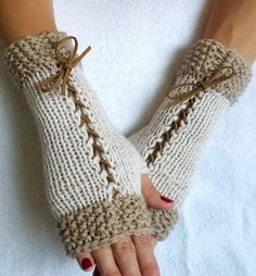 Knit Fingerless Gloves  Corset  Wrist Warmers in Light Brown Beige White  with Suede Ribbons Victorian Style