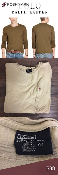 POLO Ralph Lauren Custom Fit Long Sleeve Tee Tan A trim-fitting silhouette and our signature embroidered pony give this classic crewneck a fresh update. Cut slightly slim. Crew neckline. Long sleeves with ribbed cuffs. Signature embroidered pony at the left chest.100% cotton. SIZE LARGE - EUC NO STAINS OR VISIBLE WEAR - COLOR IS A LIGHT TAN (NOT AS DARK AS STOCK PHOTO, BUT SAME STYLE!) Polo by Ralph Lauren Shirts Tees - Long Sleeve