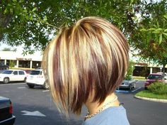 Red Blonde and Brown Highlights with an Inverted Bob cut