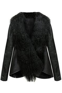 Fox Feather Black Coat #Romwe