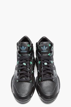 ADIDAS ORIGINALS BY O.C. Black Paisley Print Leather Top 10 Basketball Sneakers