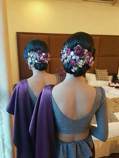 Dressed by Tharaka Nalin Saree Hairstyles, Indian Wedding Hairstyles, Bride Hairstyles, Wedding Hair And Makeup, Wedding Hair Accessories, Bridal Makeup, Bridal Bun, Bridal Hairdo, Bridesmaid Saree