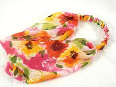 Chiffon Headband Bright Red Poppy Yellow Orange by thimbledoodle, $8.00