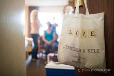 Jennifer and Kyle   Wedding - Canvas bag with name and date