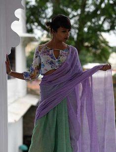 Handpainted Floral Design Blouse For Plain Sarees