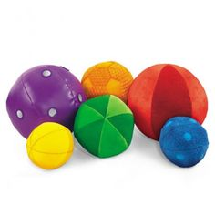 Washable Sensory Balls - Tots touch, toss and squeeze these soft-sewn balls and build sensory awareness as they play! The balls have lots of fun-to-touch textures, super-bright colours plus jingling bells, soft crinkles, rattling beads and more. Completely machine-washable which makes them ideal for busy classrooms.