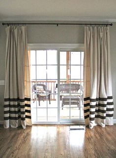12 Projects for Fabulous DIY Drapes & Curtains: use the stripes as an accent, instead of throughout the whole drape. This can enlarge the look of a room also, by leading the eye from side to side. Also a great plan for small rooms. This project is no-sew? And a Ballard Designs knock-off