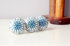 Blue and White Nautical Drawer Knob   1 Antique by ProsserBrosVtg