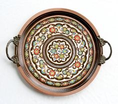 Hand Painted Copper Tray with Brass Handle