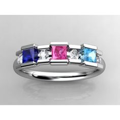 Unique designed mothers ring with larger 3mm princess cut birthstones accented by .12 carats of fine diamonds. 14 kt weighs 3.7 grams. 18 kt gold weighs 4.2 grams. Platinum weighs 5.9 grams