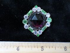 Exceptional Czech Rhinestone Jewel Glass Button Peridot Green Crystal w Purple | eBay